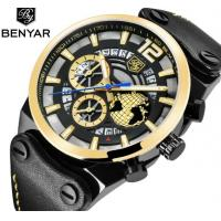 China Benyar Men Genuine Leather Band Calendar Quartz Wrist Watches BY-5141 wholesale