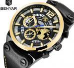 China Benyar Men Genuine Leather Band Calendar Quartz Wrist Watches BY-5141 wholesale