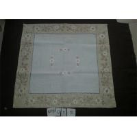 China Poly Viscose Fabric Linen Hemstitch Tablecloth With Embroidery Technics on sale