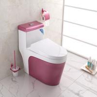 China Complete Toilet Set Pink Color Ground Drainage patterns wholesale