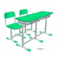 China Green Double Seater School Desk And Chair / Children 's Classroom Furniture wholesale