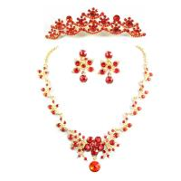 China Red Flower Jewelry Necklace Bride Wedding Accessories for Girls wholesale