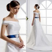 China beautiful Off Shoulder ball gown Wedding Dresses with ribbon , white wholesale