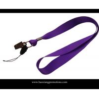 China Custom purple color  free sample  logo 2*90mm polyester lanyard with clip wholesale