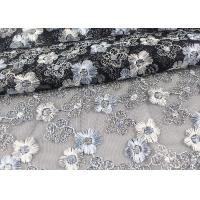 China Floral Design Embroidered Tulle Lace Fabric For Bridal Wedding Dresses wholesale