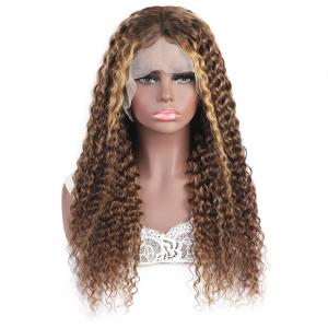 China Brazilian Human Hair Wigs Lace Frontal Blonde Brown Highlight Mix Color Custom Wig on sale