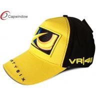 China Adjustable Sport Racing Baseball Cap Yellow With 3d Embroidered wholesale