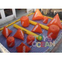 Quality 0.9mm PVC Vinyl Tarpaulin Inflatable Paintball Air Bunkers With Silk Printing for sale