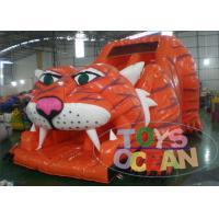 China 9x5x6m Giant Orange Inflatable Saber Tooth Tiger Slide For Kids And Adults wholesale
