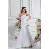 China Simple Strapless Mermaid Romantic Lace Wedding Gowns White Sweep Train Lace Wedding Dresses wholesale