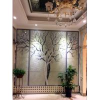 China Tree Shape Black Glass Background High Gloss / Interior Reeded Glass Wall Panels wholesale