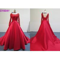 Quality ​​Red Female Wedding Dress Long Sleeves Inspiration Designs Brides Wearing for sale