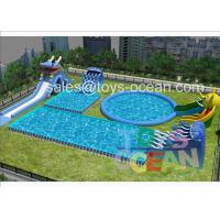 China Huge Dragon Hippo Slide Inflatable Water Play Amusement Park For Outdoor Rental wholesale