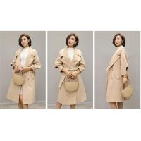 China Customized Overknee / MD Long Womens Wool Winter Coats With Belt Double Breasted wholesale