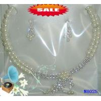 China Silver Color Rhinestone Casting Beads Jewelry Beaded Pearl Necklaces for Gift 18g wholesale
