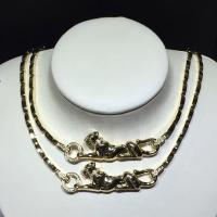 Quality 18K Yellow Gold High End Custom Jewelry Cartier Panther Necklace With Diamonds / Lacquer for sale
