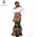 China african design dresses Off The Shoulder African Batik Print Dress For Women wholesale