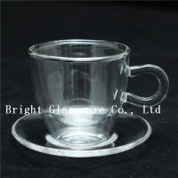 China clear double wall thermo glasses, double wall coffee glass, tea set glass with saucer wholesale