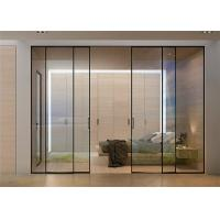 China Clear Glass Commercial Aluminium Doors Horizontal Sliding Opening Direction on sale