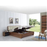 China Cheap FSC Certificated Good quality Upholstery headboard bed with wood storage bottom and Sliding door wardrobe wholesale