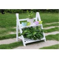 China Eco - Friendly Outdoor Patio Shelves , White Color 2 Tier Wooden Plant Stand wholesale