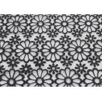 China Black Embroidered Lace Fabric Floral Lace Organza Polyester Fabric For Dresses wholesale