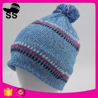 China Yiwu Winter Stock Low Price Striped Headwear Ladies Girls Knitted Hats Caps wholesale