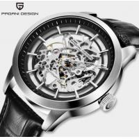 Buy cheap PAGANI DESIGN Fashion Men Leather Band Waterproof 30m Automatic Hollow-out from wholesalers