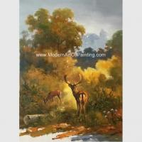 China Canvas Classic Animal Oil Painting , Two Deer Framed Wall Art 24 X 36 For Reading Room wholesale