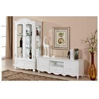 China Living Room Long White Wood TV Stand Cottage Style With Deep / Shallow Drawers wholesale