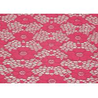 China Underwear Elastic Floral Lace Fabric Red Shrink-Resistant OEM / ODM CY-DN0003 wholesale