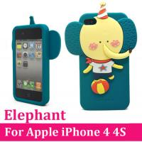 iPhone 4 4S Elephant Soft Silicone Rubber Case Cover Screen Protector