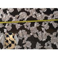 China Fashion Chenille Embroidered Lace Fabric , Polyester Mesh Fabric For Dresses wholesale