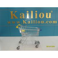 Quality 130L Supermarket store Metal Shopping Cart With Curve Handle and swivel flat casters for sale