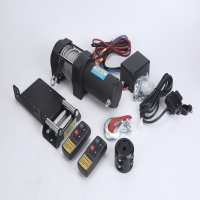 China Portable electric steel cable tow trailer ATV winch with wireless remote control mounting bracket for sale wholesale wholesale