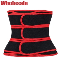 China Latex Free Waist Trainer With 3 Straps Red Stomach Slimmer Belt wholesale