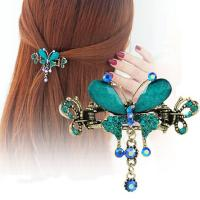 China Butterfly Shaped Rhinestone Resin Alloy Hair Claw Hair Accessories PXJA1 on sale