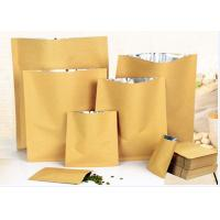 Zip Lock White Kraft Paper Pouch , Stand Up Zipper Pouch Bags With Matte Window