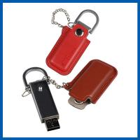 China Red / Black Keychain Cell Phone Accessory Brown Leather 32GB USB Flash Drive wholesale