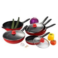 China 9Pcs Red Die-casting Nonstick Frying Pans With Silicon Handle wholesale
