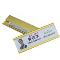 China Aluminum Custom Magnetic Name Badges , Engraved Metal Name Tags With Safety Pin on sale
