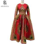 China African Dashiki Dress Bride Elegant O-Neck African Print Maxi Dress Special Design wholesale