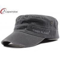 China Stone Washed Canvas Fabric Army Baseball Cap Light Grey With Velcro Closure wholesale