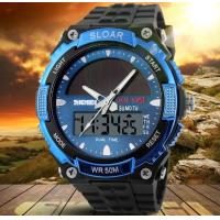 China Men Boy Solar Powered Dual Time Zones Waterproof Sport Wrist Watch Analog and Digital Watch 1049 wholesale