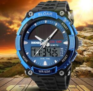 Quality Men Boy Solar Powered Dual Time Zones Waterproof Sport Wrist Watch Analog and Digital Watch 1049 for sale