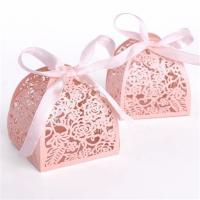 China Wedding Small Candy Boxes , Pink Color Mini Paper Gift Box Offset Printing on sale