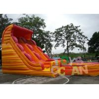 Quality 0.55mm PVC Vinyl Inflatable Water Slide Double Lane Kids Large Lava Wave Slide for sale