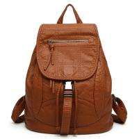 China Spring / Summer Fashion Ladies Backpack Washed Leather For Young Girls wholesale