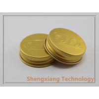 China Golden Cosmetic Jar 38/400 Aluminum Screw Caps With Embossed Logo wholesale