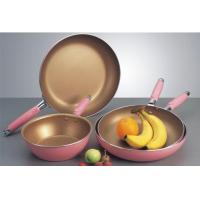 China Golden Ceramic Stamped Nonstick Cookware Set With Induction Bottom wholesale